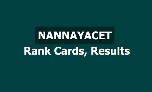 NANNAYACET 2019 Rank cards, Results