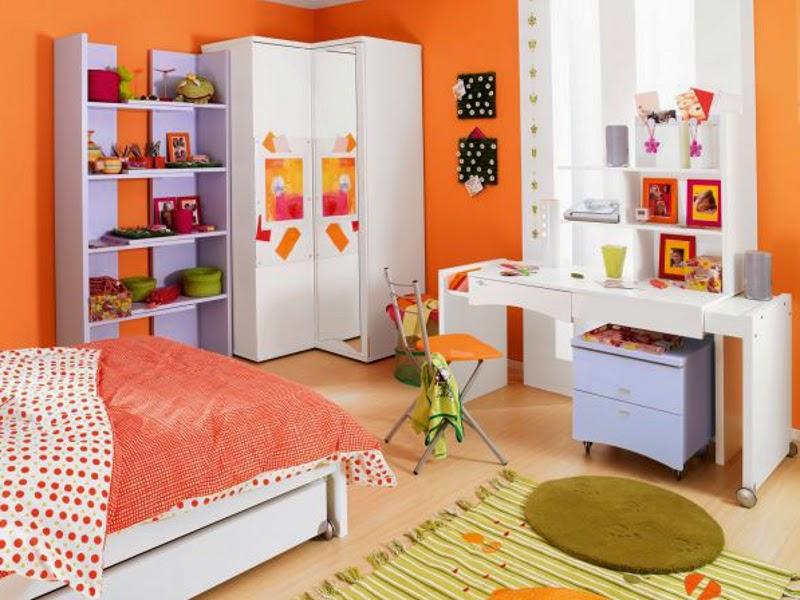 Dormitorio adolescente color naranja