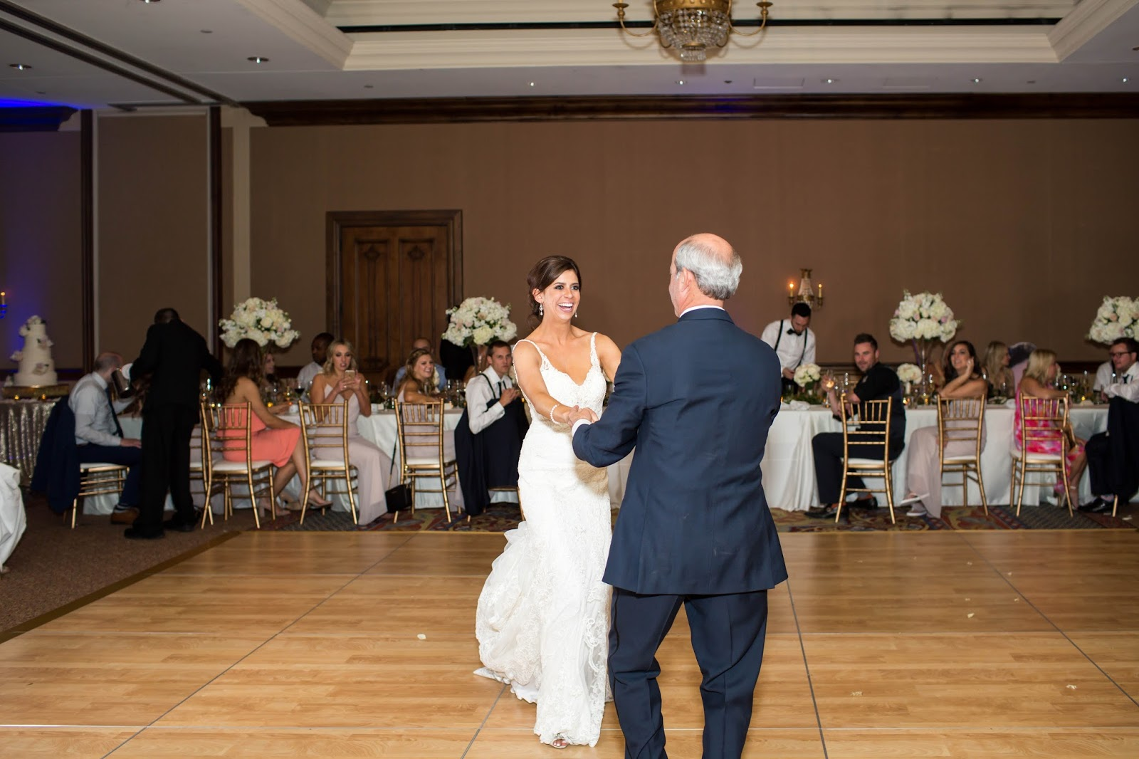 Father and daughter first dance at ballroom reception at Omni Montelucia