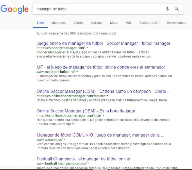 """Búsqueda """"manager de fútbol"""" en Google"""
