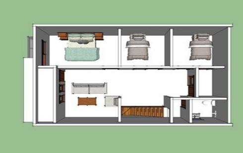desain denah rumah 3 kamar ukuran 6x12 dengan konsep