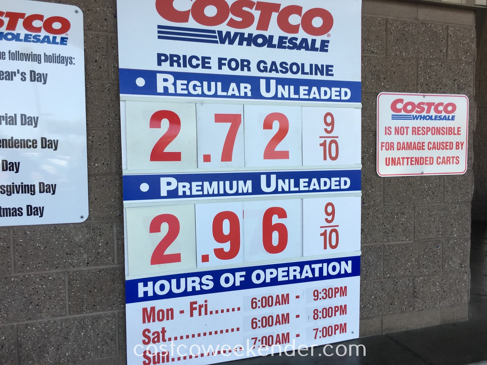 Costco gas for April 9, 2017 at Redwood City, CA