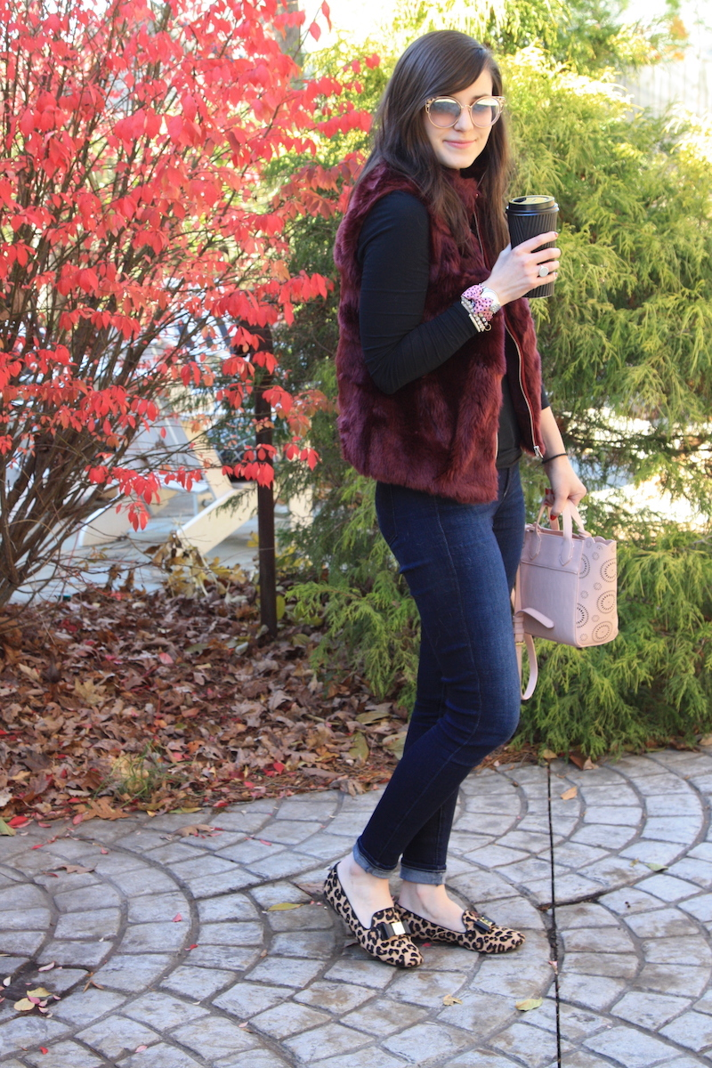 2017, winter, Thanksgiving, fur, J.Crew, burgundy, OOTD,
