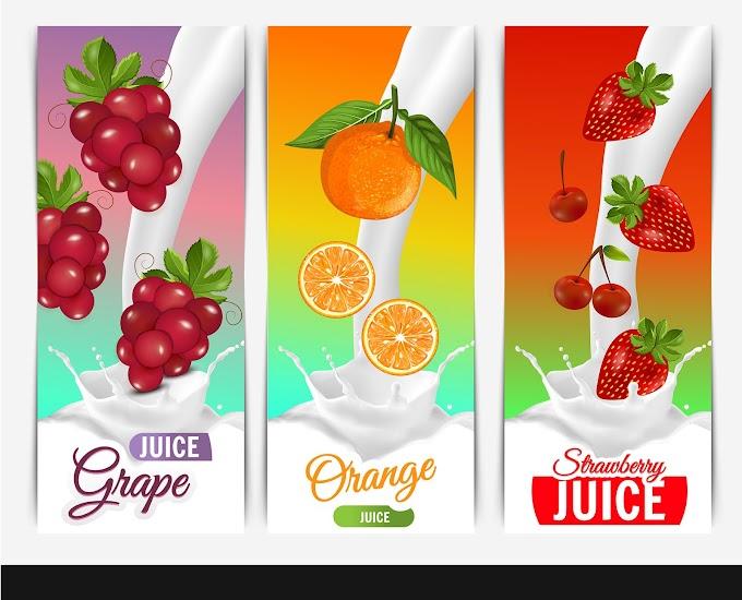 Fruits juice milk advertising grape orange strawberry sketch Free vector