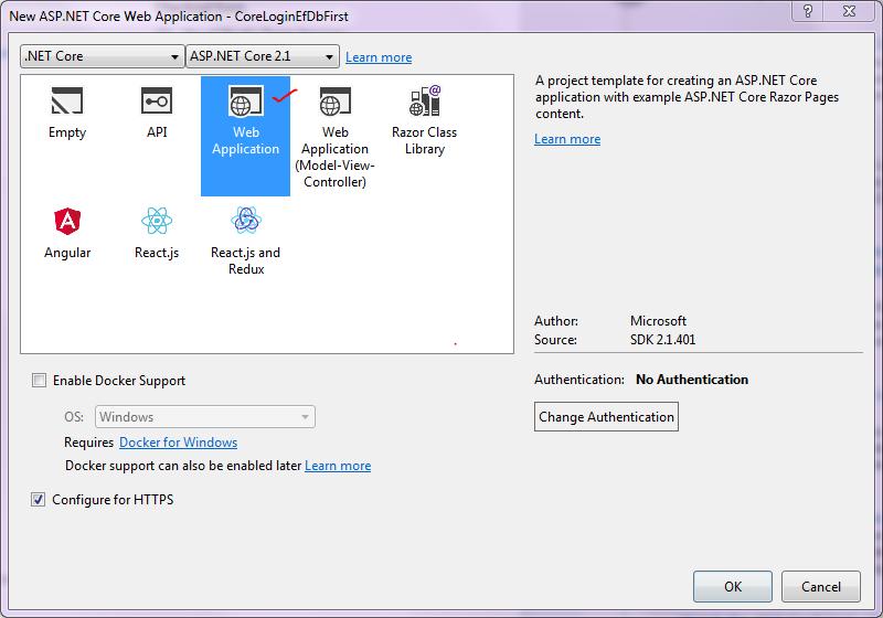 ASP NET Core Razor Pages: Simple Login using Entity Framework