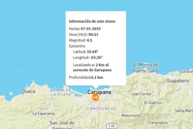 Sismo de 4,5 madrugó a la gente en Carúpano - La tierra tiembla!