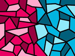 Mosaik mit Magenta und Cyan
