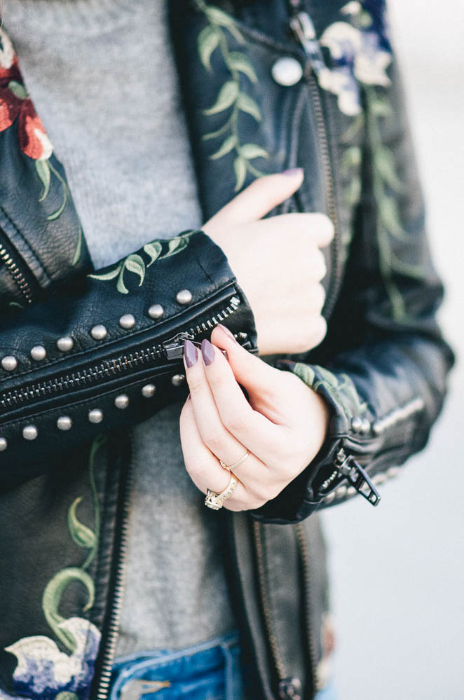 edgy leather jacket with feminine twist