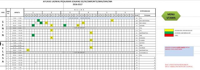 Aplikasi Pembuatan Jadwal Pelajaran Versi Mudah Dengan Format Baru