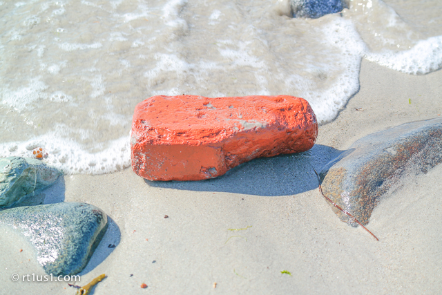 Brick eroded by ocean Roque Bluffs, ME