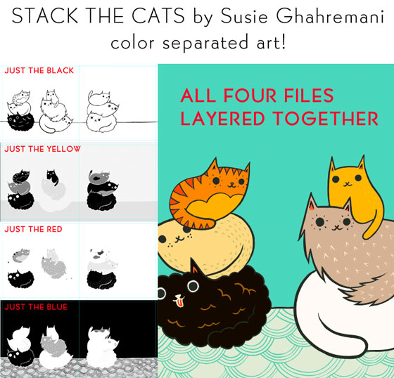 Color separated artwork for Stack the Cats by Susie Ghahremani