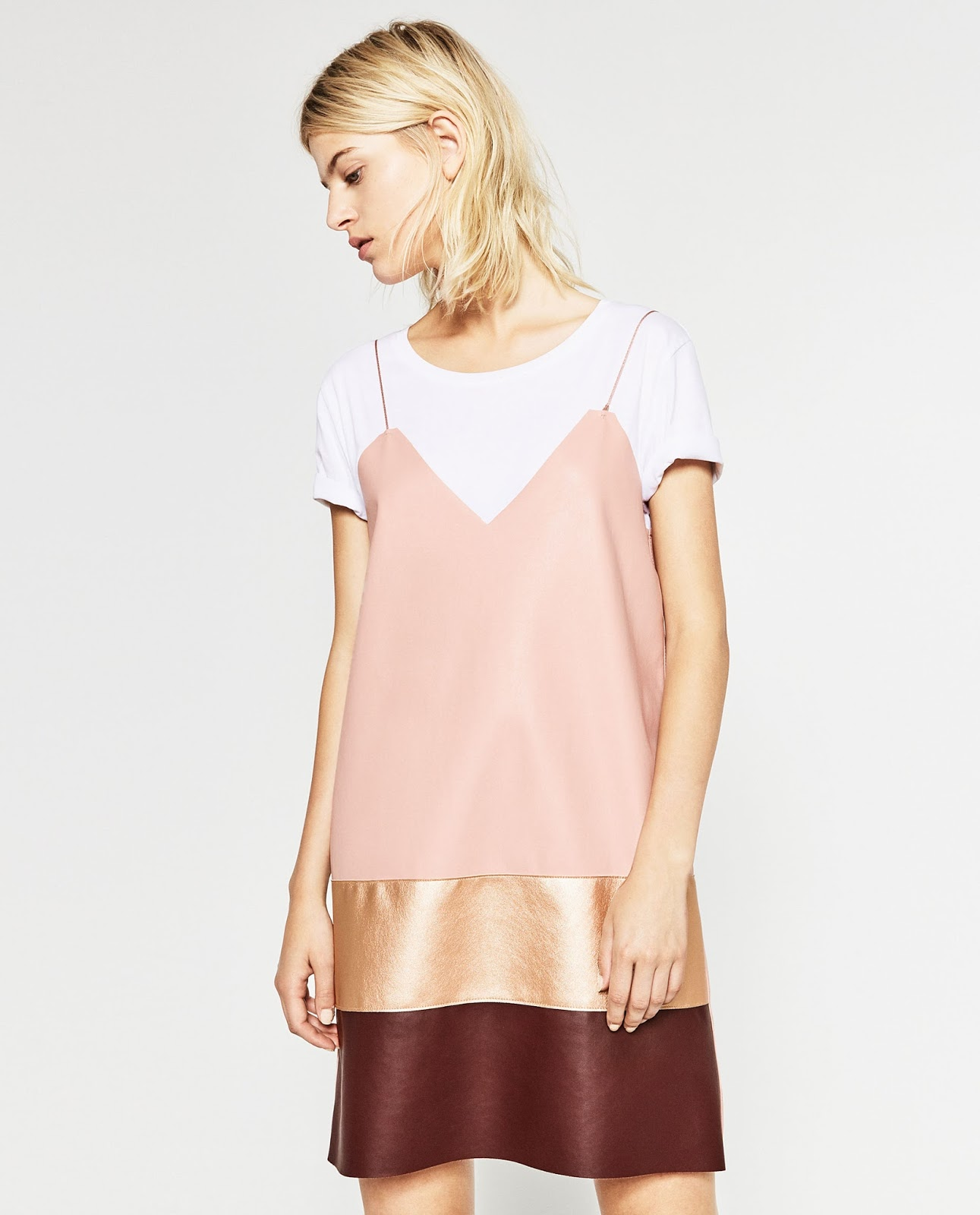 slip over tee, zara 90s style, zara pink slip, zara leather slip