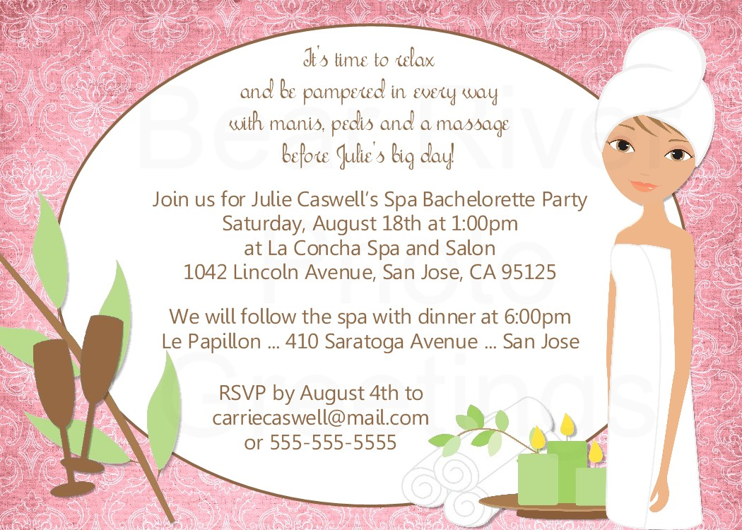 Spa Invitation Template party birthday diy print your own by – Spa Party Invitation Wording