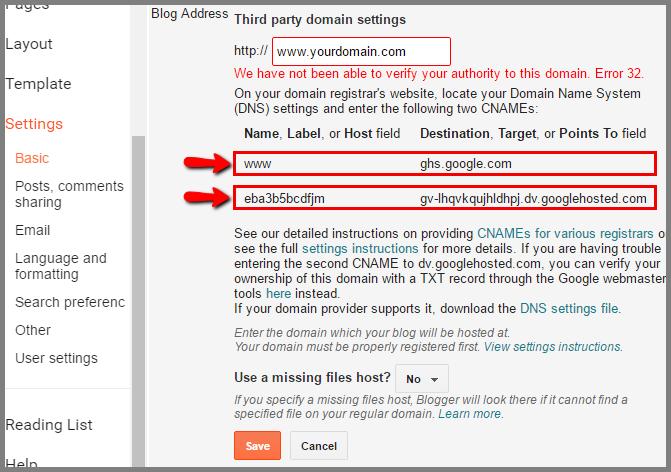 setup namecheap domain to blogger