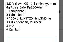 Cara Daftar Paket Yellow Indosat 1GB 2000 Harian