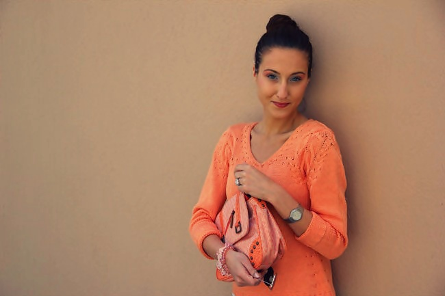pretty light orange knitted blouse sweater for spring