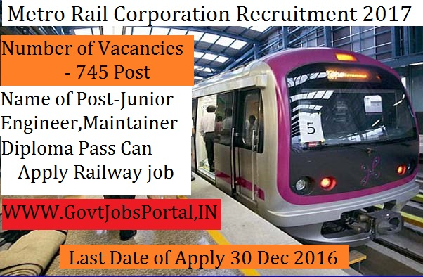 metro railway corporation recruitment for junior engineer  metro railway corporation recruitment 2017 for junior engineer post