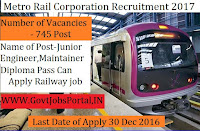 Metro Railway Corporation Recruitment 2017 For Junior Engineer Post