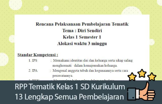 RPP Tematik Kelas 1 SD Kurikulum 13