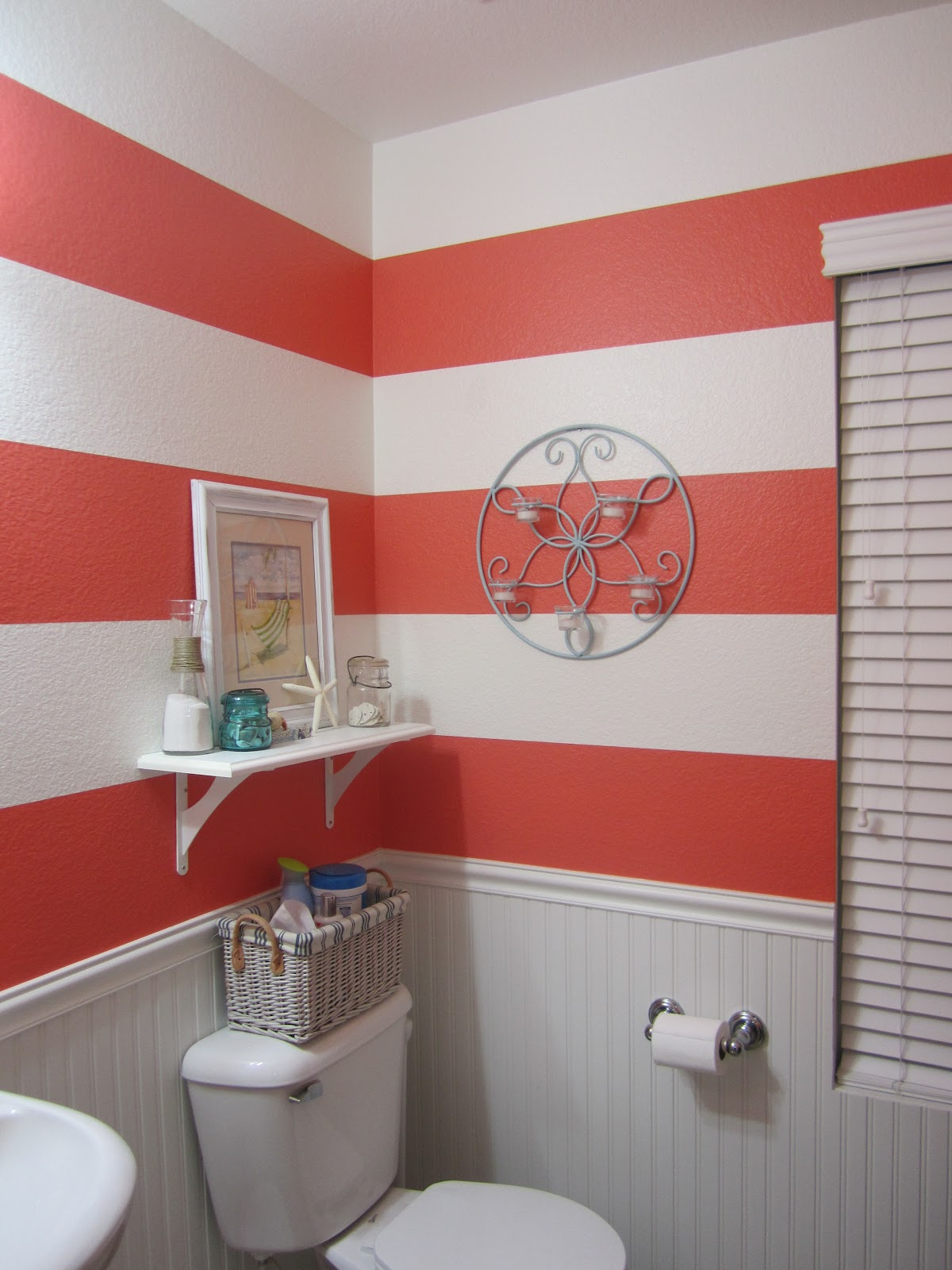 Just Another Day In Paradise: Coral {Striped} Bathroom