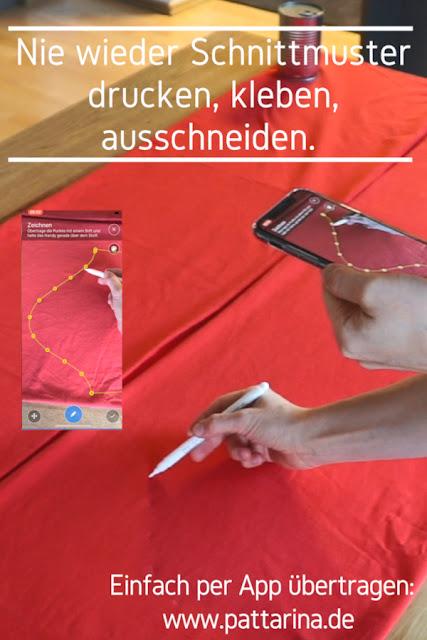 Pattarina - nie wieder Schnittmuster drucken oder abpausen, sondern einfach mit dem Handy übertragen. Jetzt zum Test anmelden auf www.pattarina.de!