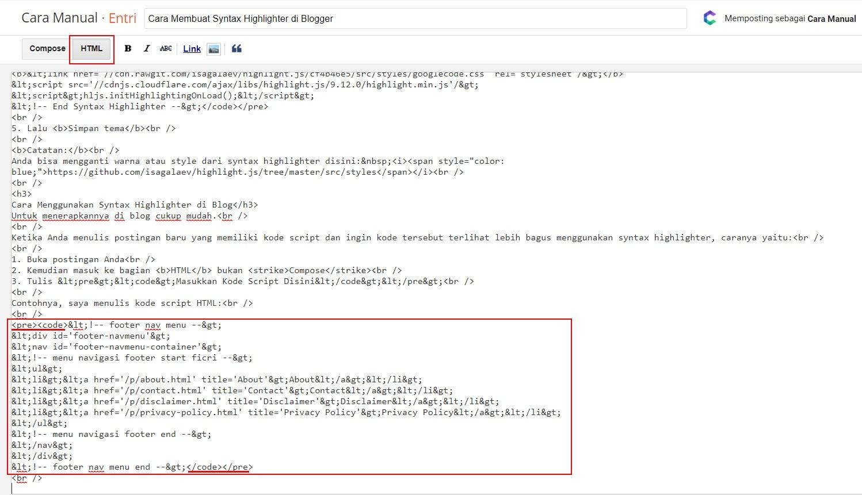 Cara Menggunakan Syntax Highlighter di Blog