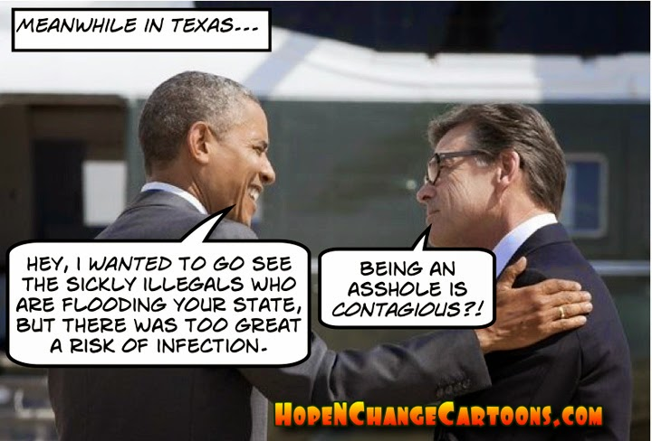 obama, obama jokes, political, cartoon, hope n' change, hope and change, stilton jarlsberg, immigration, crisis, texas, illegal, aliens