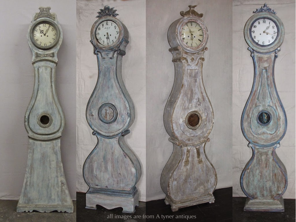 Antique Swedish Mora Clocks in blue hues