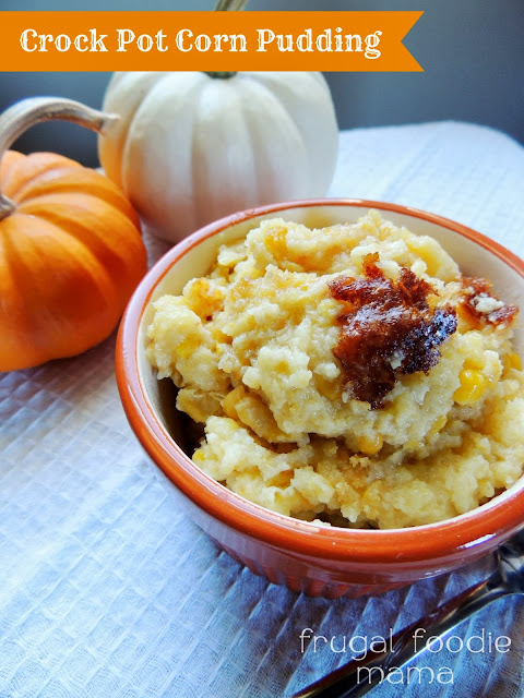 This creamy, savory Crock Pot Corn Pudding saves oven space during your holiday dinner prep & will soon become a family favorite.