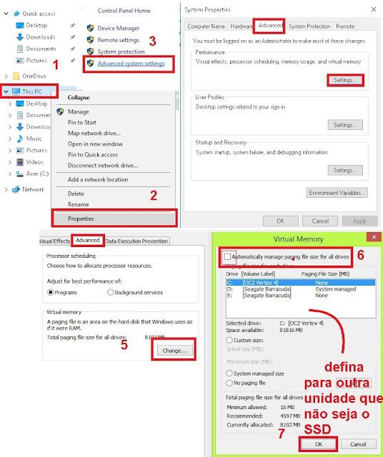 Como Otimizar o SSD paginação