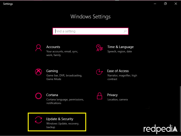 Update & Security Windows