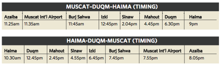 Timings Mwasalat Muscat–Duqm– Haima route