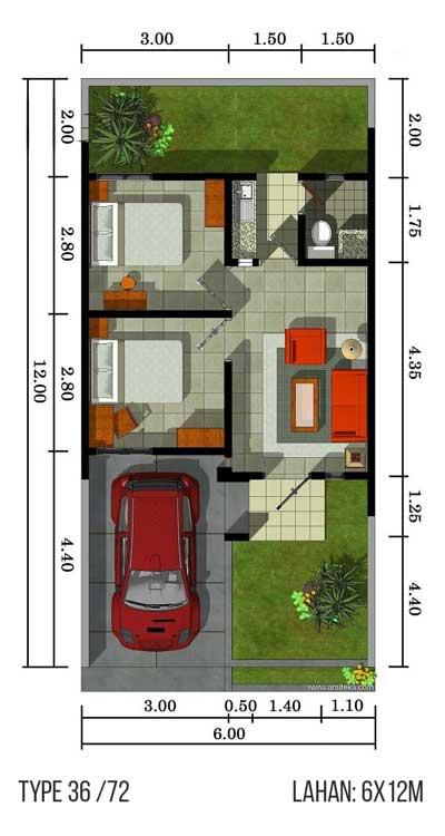 denah rumah type 36 1 lantai