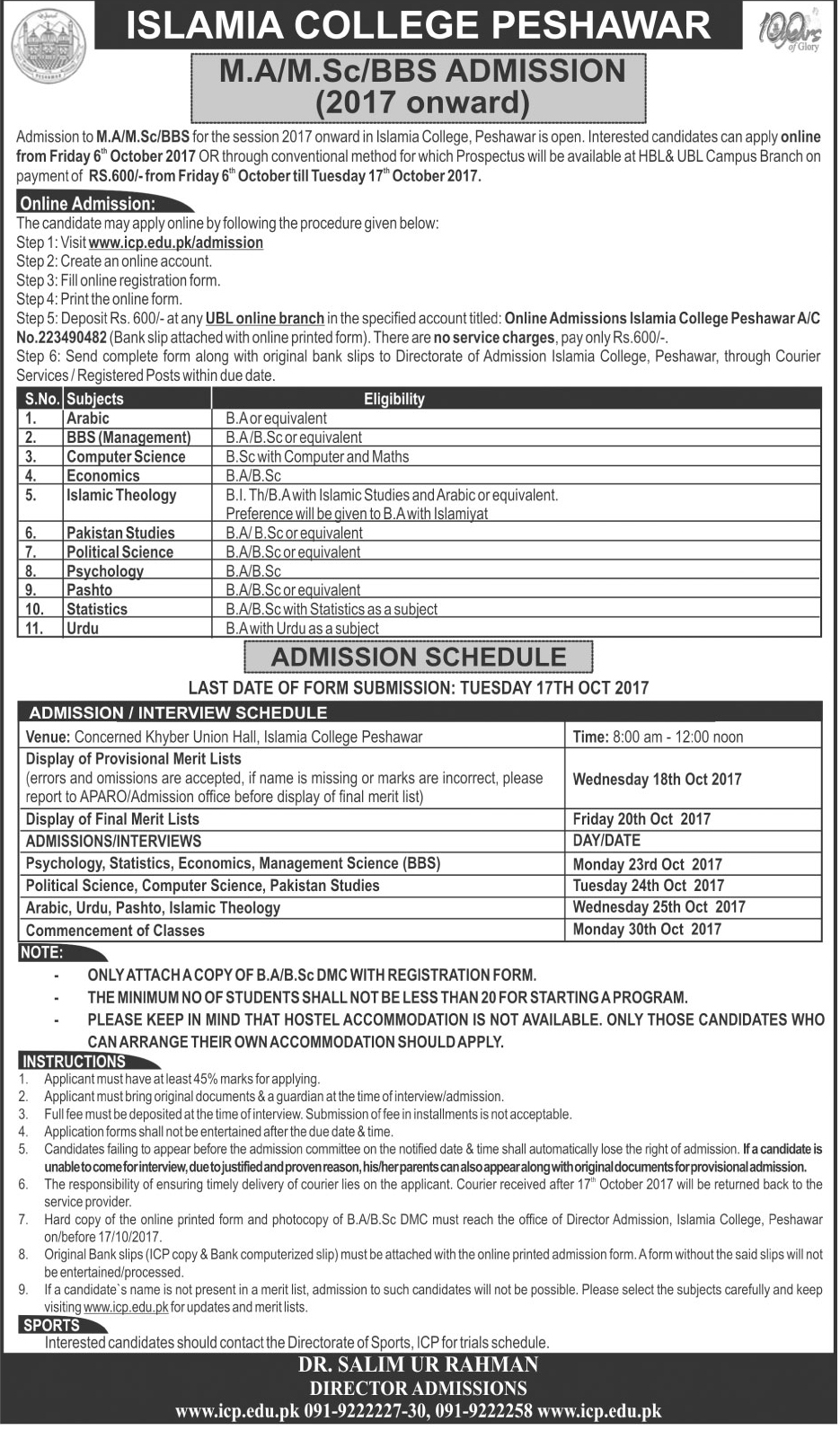 Admissions Open in Islamia College University Peshawar - 2017
