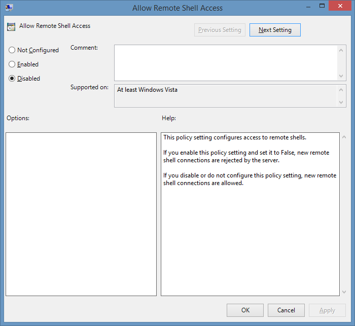 screenshot showing the allow remote shell access policy setting
