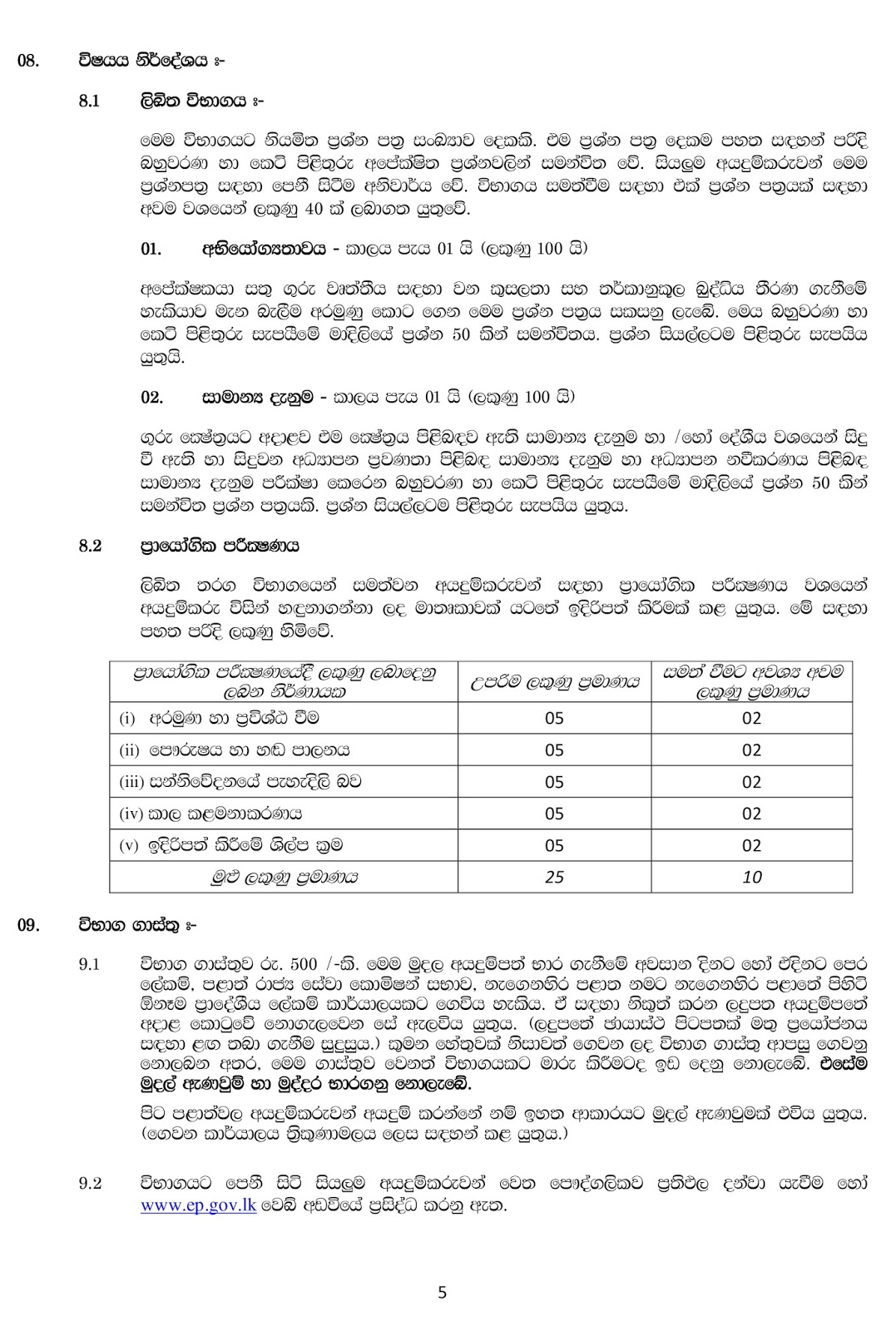 Open Competitive Examination Of Srilanka Teachers Service