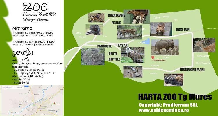 Orar, hartă și program Grădina Zoologică din Târgu Mureș Zoo
