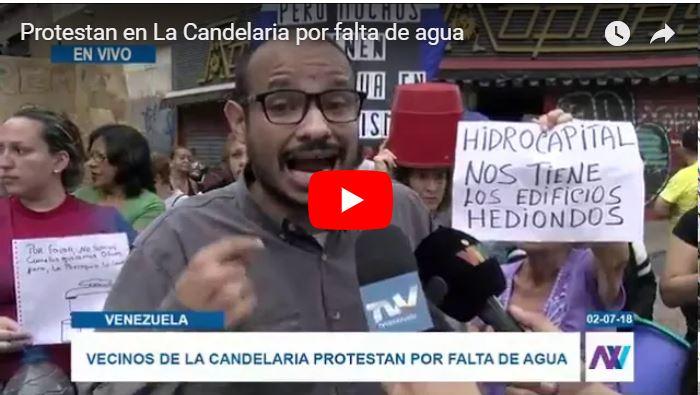 Protestas populares en La Candelaria por la falta de agua en la zona
