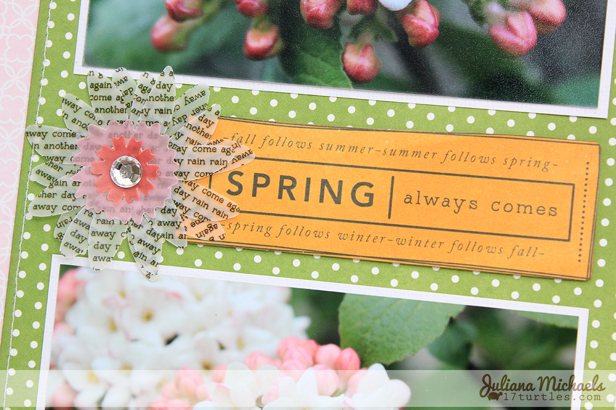 Spring Always Comes Scrapbook Page by Juliana Michaels using Pebbles Garden Party Collection
