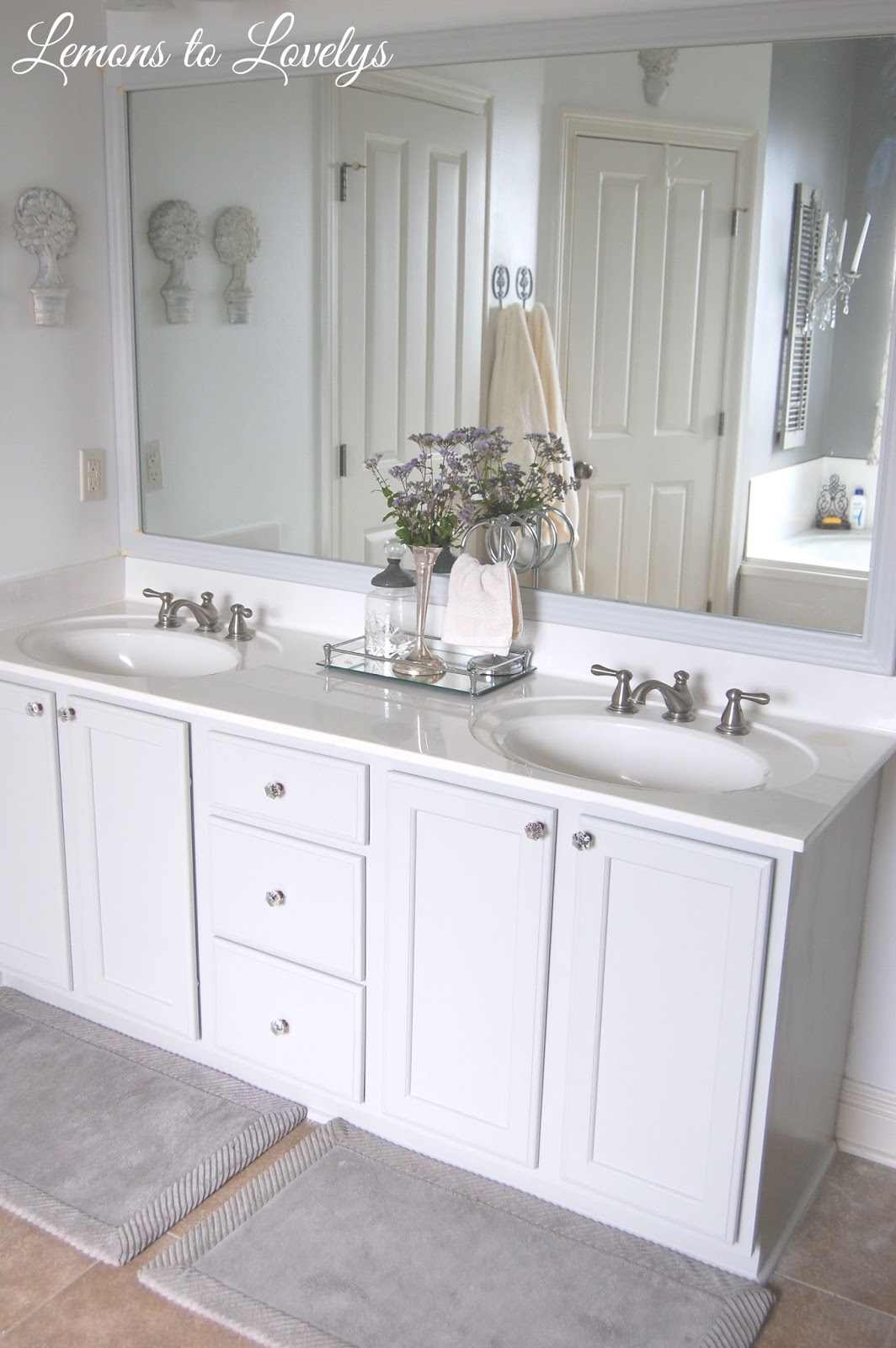 Bathroom Makeovers With White Cabinets master bathroom makeover – lemons to lovelys