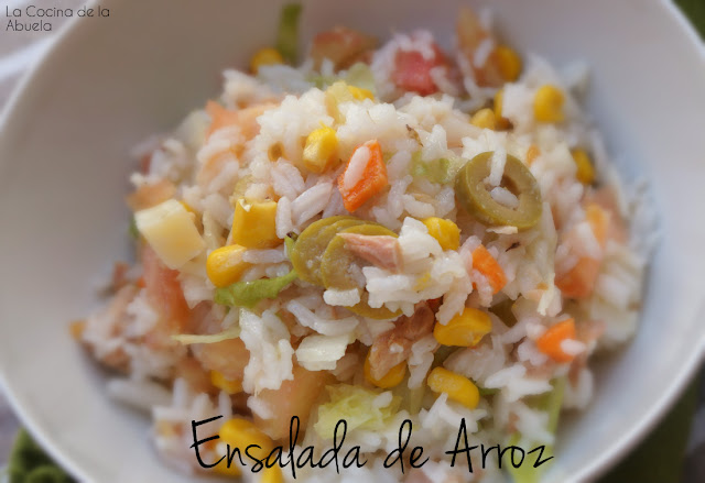 Ensalada arroz Receta pasos emplatado plato