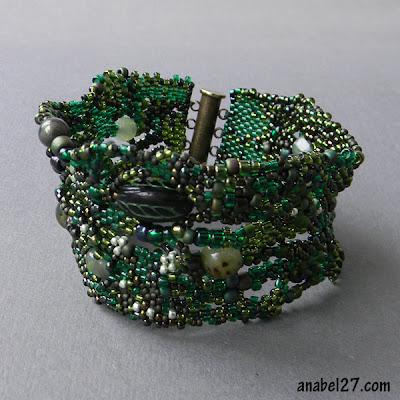 купить украшения бохо из бисера ручной работы зеленый браслет из бисера