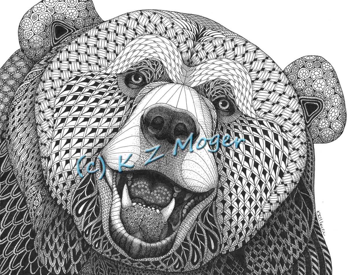 04-The-Joyful-Bear-Kristin-Moger-Domestic-and-Wild-Zentangle-Animal-Portraits-www-designstack-co