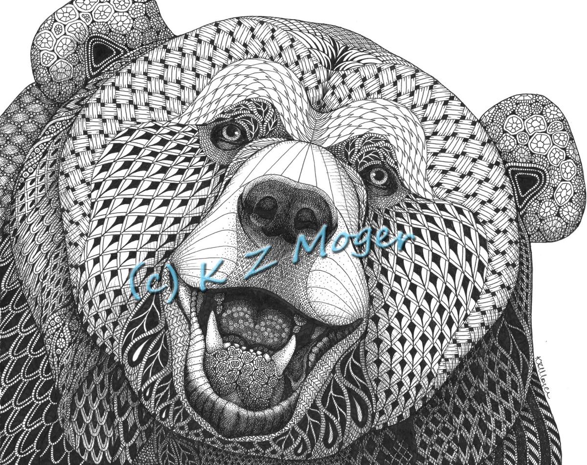 04-The-Joyful-Bear-Kristin-Moger-Domestic-and-Wild-Zentangle-Animal-Portraits-www-designstack-co