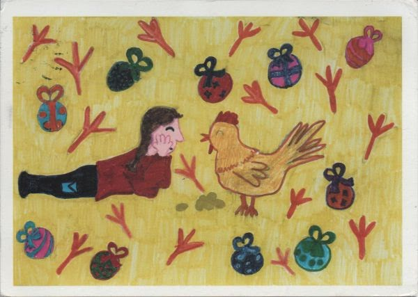 design drawn by child showing child lying on ground facing a chicken