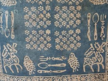 georgia lurji supra textiles blue tablecloths, art craft tours uzbekistan kyrgyzstan, central asia small group tours