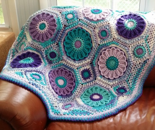 Purple Passion Flower Garden Afghan - Crochet Pattern