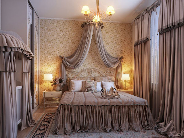 excellent romantic bedroom ideas with cool brown sliding curtains and modern victorian bed