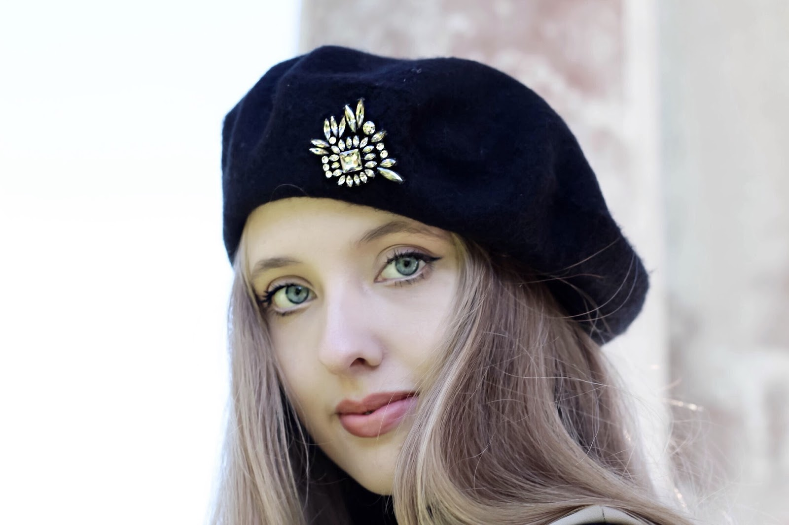 Black Embellished Beret Zara Fashion Blog