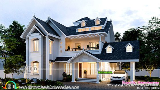 Stunning western model sloped roof house design